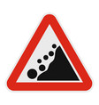 falling stone icon flat style vector image vector image