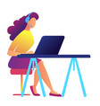 female call center operator working vector image