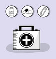 first aid briefcase with treatment tools inside vector image vector image