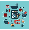 flat cleaning icons set vector image