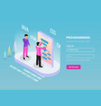 freelance programming isometric composition vector image