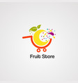 fruit store logo icon element and template vector image vector image