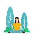 girl sitting in a yoga lotus position meditation vector image vector image