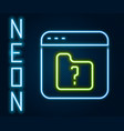 glowing neon line file missing icon isolated on vector image vector image