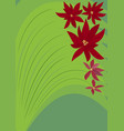 green background with red fantasy flowers vector image vector image