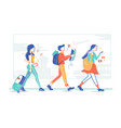 group tourists flight passengers go on trip vector image vector image