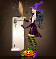 Halloween girl with pumpkin and broom vector image vector image