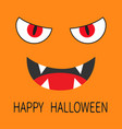 happy halloween evil red eyes smiling wicked vector image