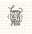 happy new year 2018 card with handwritten vector image