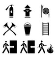 Image of fire extinguishing icons - fire