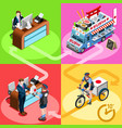 japanese food truck sushi home delivery isometric vector image