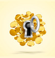 key to lock with coins vector image vector image
