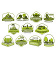 landscape park and garden design icons vector image vector image