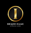 luxury letter i logo template in gold color royal vector image