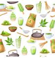 matcha tea ceremony seamless pattern vector image