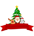 Merry Christmas Snowman family with red ribbon vector image vector image