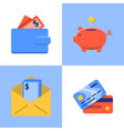money and payments icon set in flat style vector image