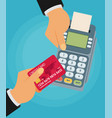 pay merchant hands credit card flat payment vector image vector image