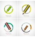 Pencil icon set company logo minimal design vector image