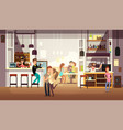 people eating lunch in cafe bar interior flat vector image vector image