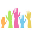 raising colorful hands up silhouette in pastel vector image