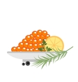Red caviar in a plate with lemon and green icons vector image
