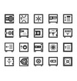 safe bank cell black silhouette icons set