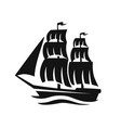 sailing ship silhouette sign vector image