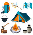 set camping elements isolated on white vector image