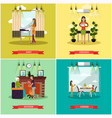set of mother concept posters in flat style vector image vector image