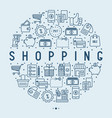 shopping concept in circle with thin line icons vector image vector image