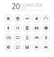 Simple thin computer icons collection on white vector image vector image