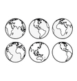 Six Earth globes vector image vector image
