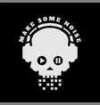 skull in headphones make some noise on a dark vector image vector image