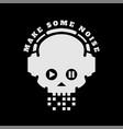 skull in headphones make some noise on a dark vector image