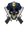 skull with sunglasses in a police cap and silver vector image vector image