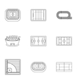 Sports complex icons set outline style vector image vector image