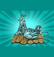 the hen incubates electronic money bitcoin vector image vector image