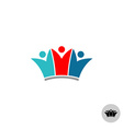 Three people in a crown shape logo