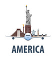 travel emblem to america vacation trip to vector image vector image