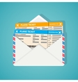 Two plane tickets in envelop vector image