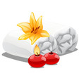 two towels burning candles and a lily flower vector image vector image