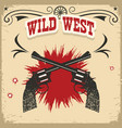 wild west background with revolvers and text on vector image vector image