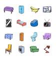 furniture icons set cartoon vector image