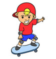 happy boy playing skateboard character vector image