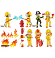 A group of firemen vector image vector image