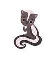 adorable skunk baanimal cartoon character vector image vector image