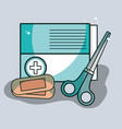 aid band box with scissor pharmacy tools vector image vector image