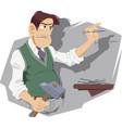 angry man nailing household chores vector image vector image