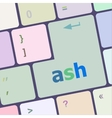 ash word on keyboard key notebook computer vector image vector image